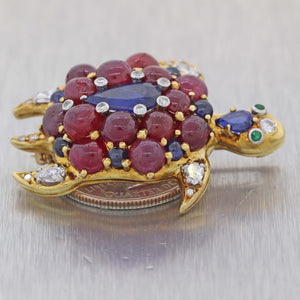 Vtg. 18k Yellow Gold 14ctw Sapphire Ruby Diamond Emerald Cluster Turtle Brooch Pin