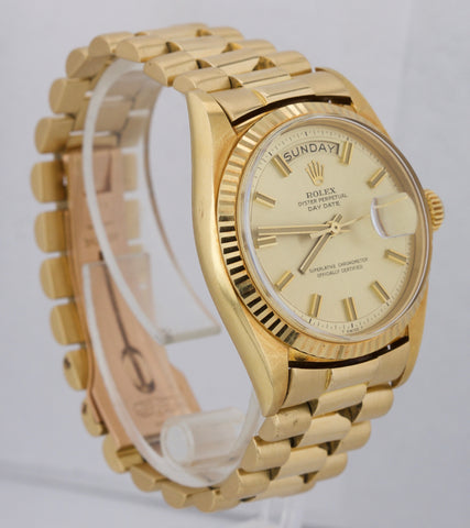 1969 Rolex Day-Date WIDE BOY President Champagne 36mm 1803 18K Yellow Gold Watch