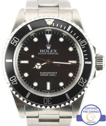 Men's Rolex Submariner No-Date 14060 Stainless Steel Black Dive 40mm Swiss Watch