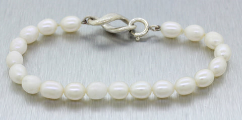 "Tiffany & Co. Sterling Silver 6.5"" Pearl Infinity Bracelet with Box and Pouch"