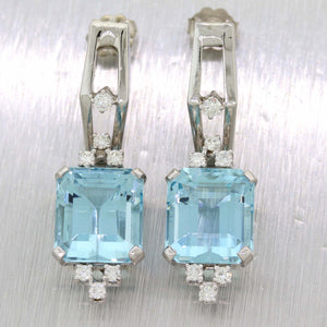 Ladies 14k White Gold 14.80ctw Aquamarine Diamond Cocktail Drop Dangle Earrings