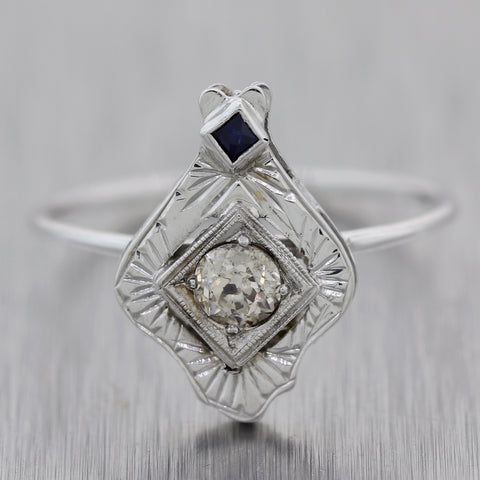1930's Antique Art Deco 14k White Gold 0.17ctw Diamond & Sapphire Ring