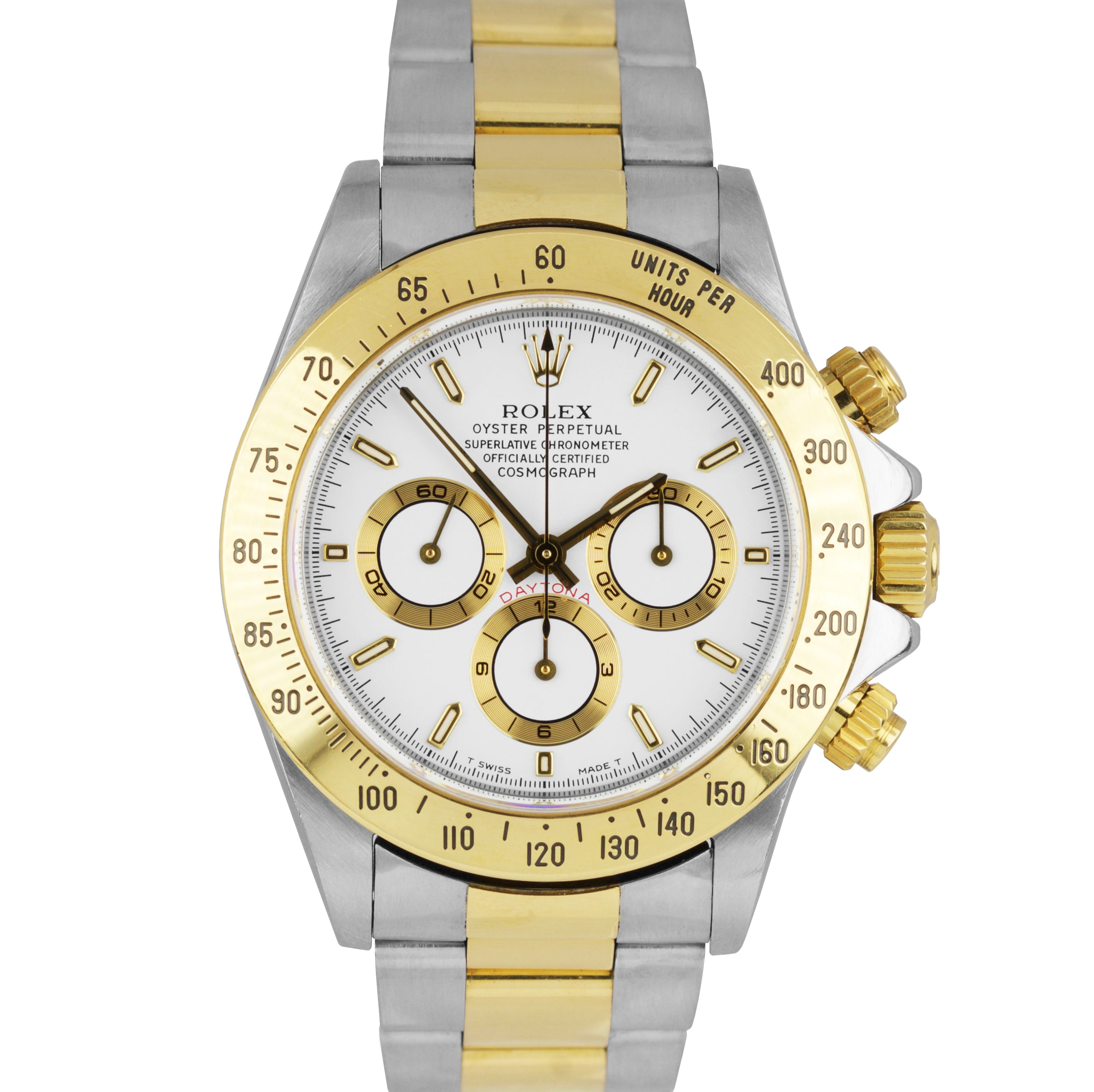 UNPOLISHED 1998 Rolex Daytona Cosmograph Zenith 16523 40mm Two-Tone White Watch