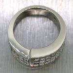 Modern 18k White Gold Invisible Set 2.50ctw Princess Diamond Wedding Band Ring