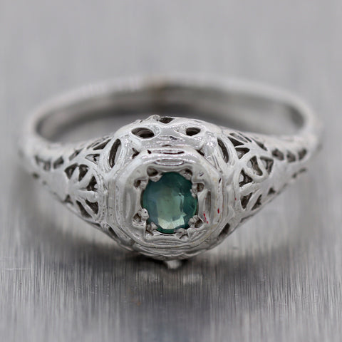 1930's Antique Art Deco 14k White Gold 0.20ct Blue-Green Sapphire Ring