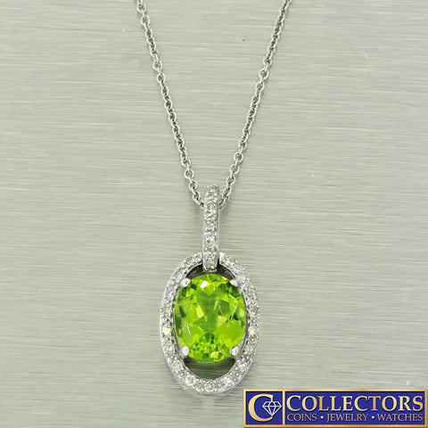 Vintage Estate 14k Solid White Gold 0.30ctw Diamond~ Oval Peridot Necklace