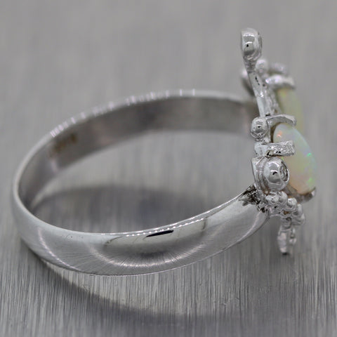 1930's Antique Art Deco 14k White Gold1.05ctw Diamond & Opal Crown Tiara Ring