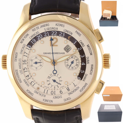 Girard Perregaux WW.TC. Chronograph World Time 4980 18k Yellow Gold Date Watch