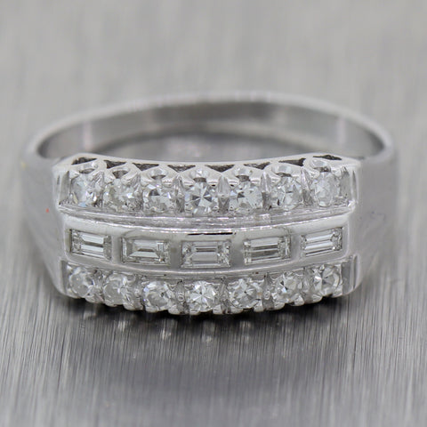 1930's Antique Art Deco 14k White Gold 0.50ctw Diamond Wedding Band Ring