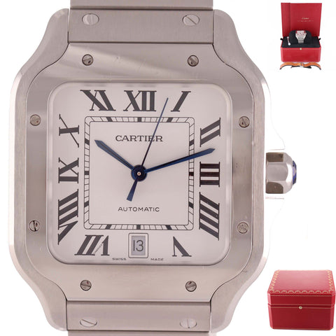 Cartier Santos 100 XL 4072 38mm Automatic Steel Roman Date Watch Papers B9