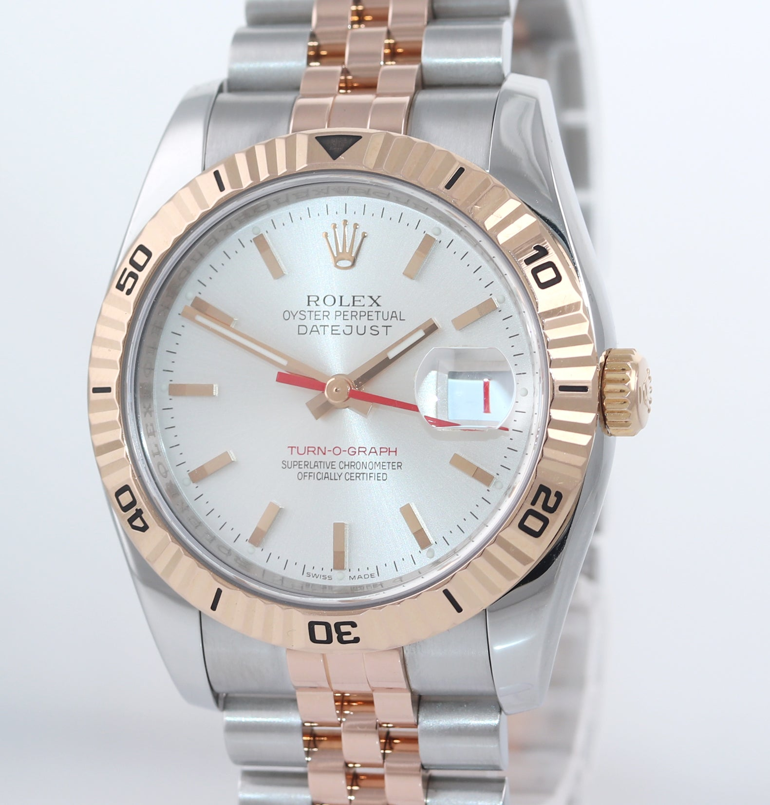 Rolex DateJust Turn-O-Graph 116261 Rose Gold Two Tone Silver 36mm Jubilee Watch