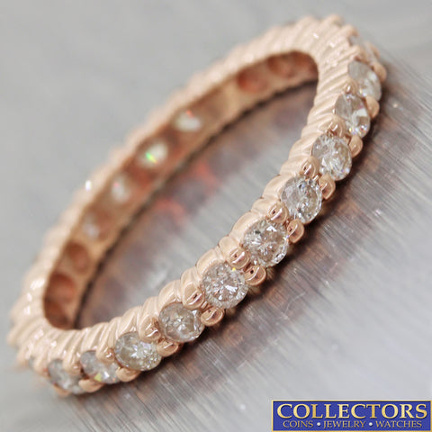 Modern Solid 14k Rose Gold 1.20ctw Diamond 2mm Wide Eternity Wedding Band Ring C8