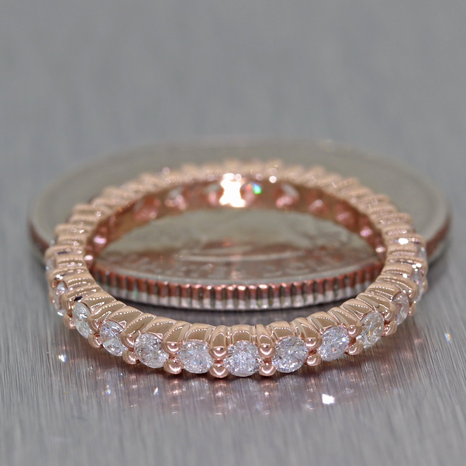 Modern 14k Rose Gold 1.20ctw Diamond 2mm Wide Eternity Wedding Band Ring C8