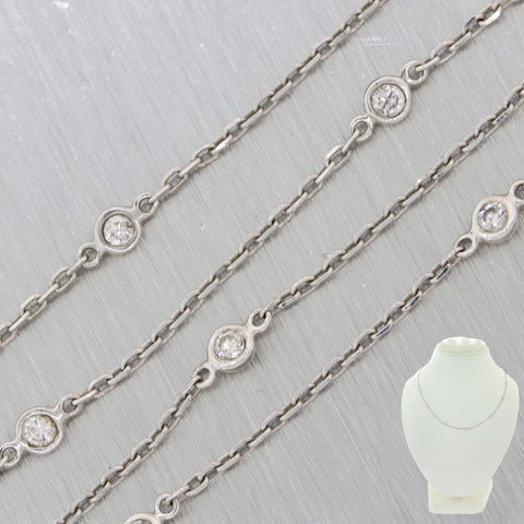 Ladies 14k White Gold .50ctw Diamonds By The Yard Station Necklace