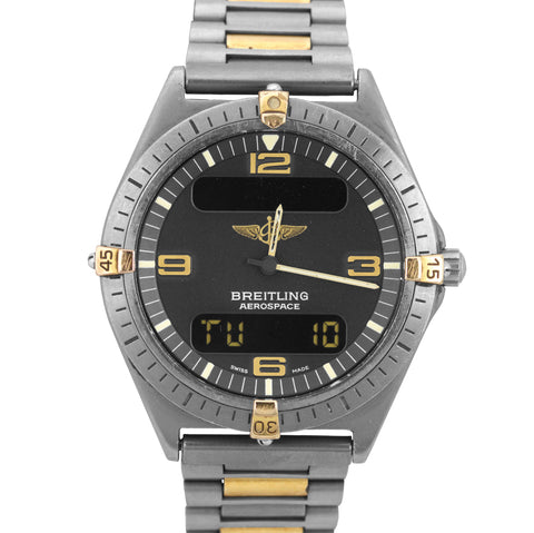 Breitling Aerospace Titanium F56060 Digital Black 40mm TwoTone Gold Quartz Watch