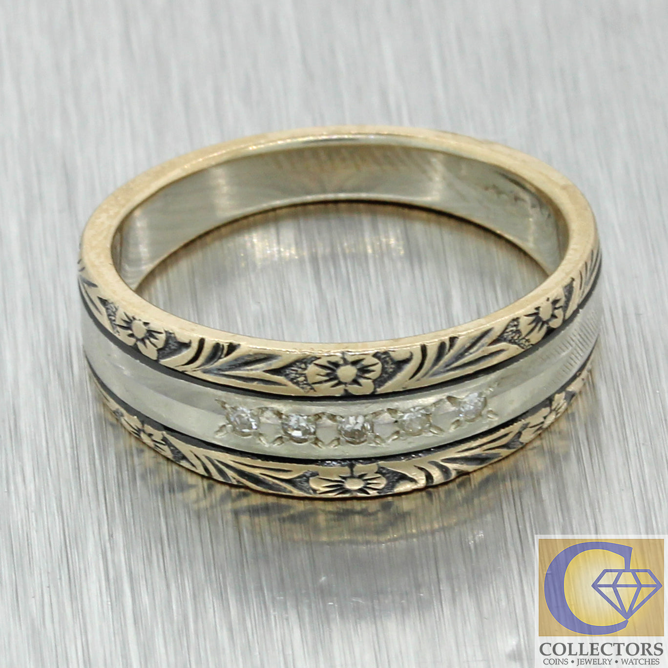 1930s Antique Art Deco 14k White Gold Diamond Enamel 7mm Wide Wedding Band Ring