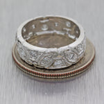 1930s Antique Art Deco Estate Platinum 5mm .45ctw Diamond Wedding Band Ring C8