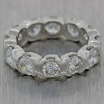 Platinum 4.80ctw Diamond 4mm Eternity XO Bezel Set Eternity Wedding Band Ring