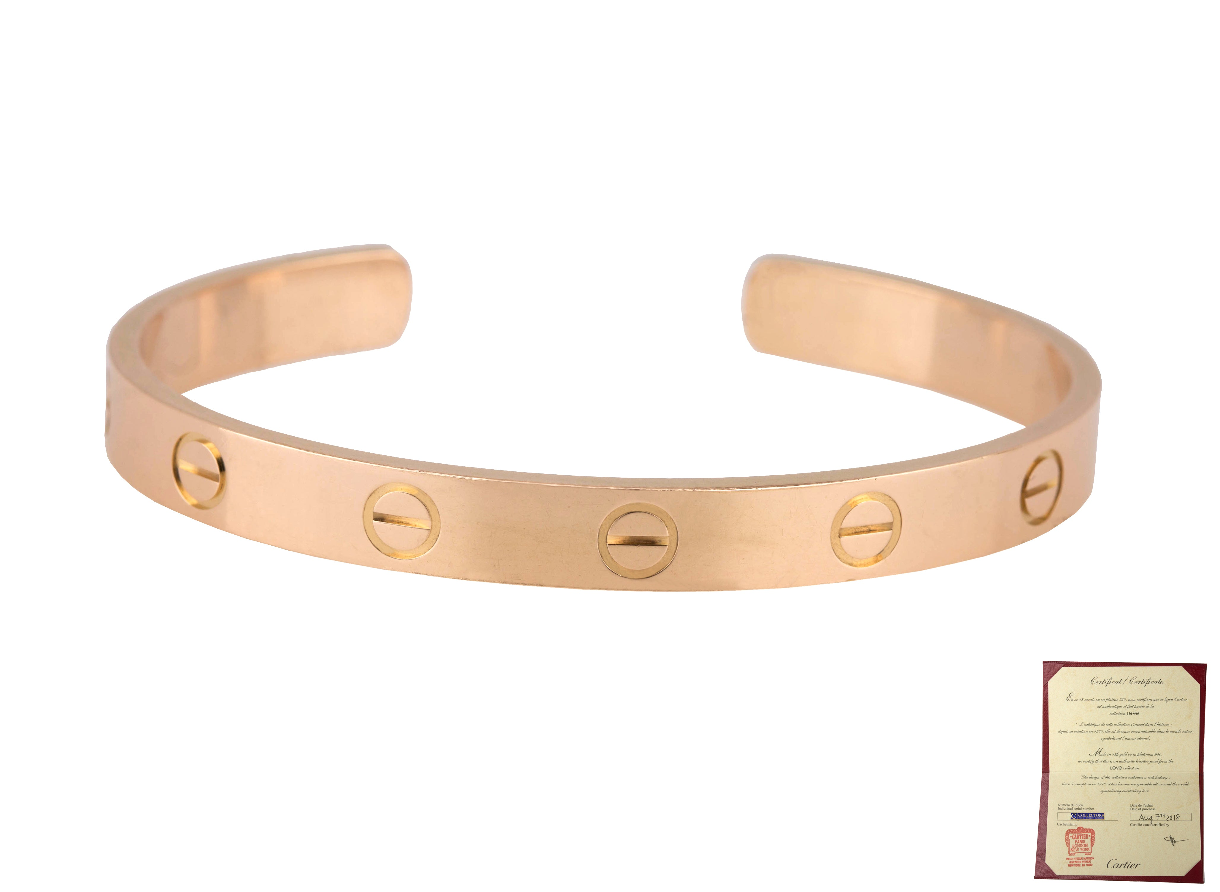 Ladies 2018 Cartier Love 18K 750 Solid Rose Gold Size 16 Cuff Bangle Bracelet