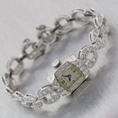 1930s Antique Art Deco Estate Platinum 3.00ctw Diamond Hamilton Watch Bracelet