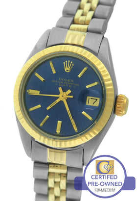 Ladies Rolex Date 6917 Blue 26mm Two Tone Gold Jubilee Watch DateJust 69173