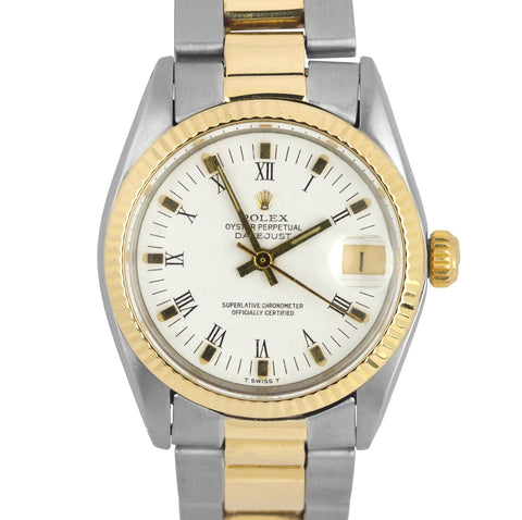Ladies Rolex DateJust 6827 31mm White Roman Two Tone Gold Stainless Oyster Watch