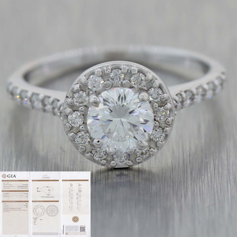 Round .75ct E SI1 GIA 14k White Gold Halo 1.25ctw Diamond Halo Engagement Ring