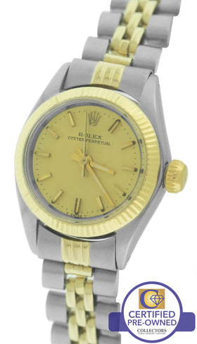 Ladies Rolex Oyster Perpetual 24mm 6719 14K Two-Tone Gold Stainless Watch 67193