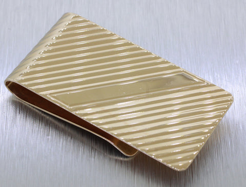 "Vintage Estate 14k Solid Yellow Gold 2"" 17.9g Striped Money Clip"