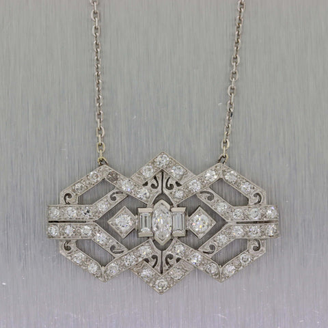 1930s Antique Art Deco Platinum 14k White Gold Diamond Pendant Chain Necklace