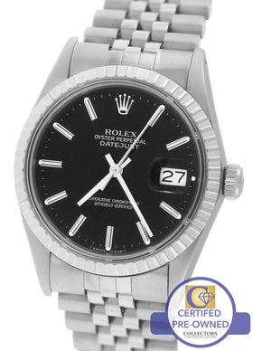 Rolex DateJust 36mm 16030 Stainless Steel Black Stick Jubilee Swiss Watch 16220