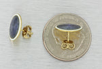Vintage Estate Solid 14k Yellow Gold Enamel 14mm Round Disc Stud Earrings