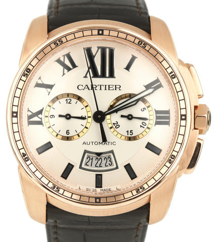 Cartier Calibre Diver 18K Rose Gold Silver Dial 42mm Leather Watch 3755 W7100044