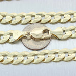 "Mens 14K Solid Yellow Gold 11mm Wide Cuban Curb Chain Link Necklace 24"" 73g"