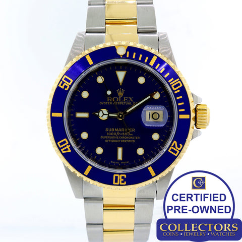 Rolex Submariner  Date 16613 Two Tone Steel 18k Gold Blue 40mm Dive Watch S8