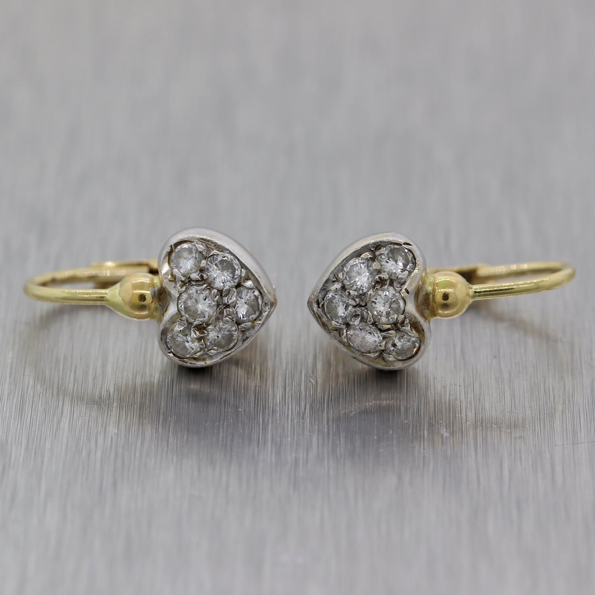 Vintage Estate 14k Yellow & White Gold 0.50ctw Diamond Heart Earrings