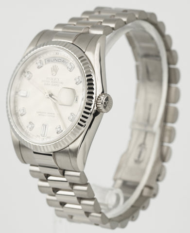 2001 Rolex Day-Date President 36mm 18K White Gold Silver Diamond Watch 118239