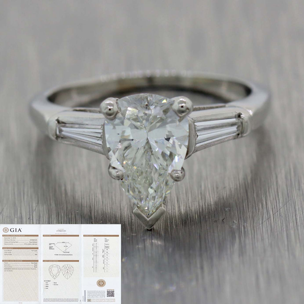 Vtg. Platinum 1.61ctw I VS2 Pear Shape Tapered Baguette Cut GIA Engagement Ring