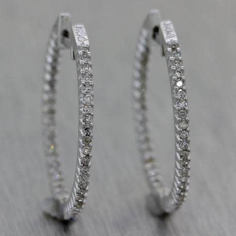 Modern 18k White Gold 0.40ctw Diamond In & Out Hoop Earrings