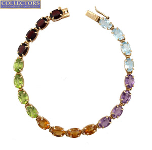 "Stunning Ladies Estate 14K Yellow Gold Multi-Gemstone 7.00"" Tennis Bracelet"