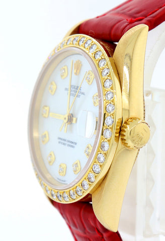 Ladies Rolex President DateJust 68278 Midsize 31mm 18k Gold MOP Diamond Watch S8