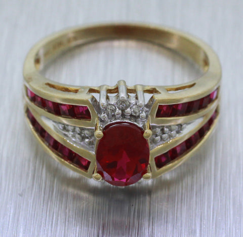Vintage Estate 10k Solid Yellow Gold 1ctw Rubellite and Diamond Engagement Ring