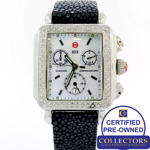 Ladies Michele Deco MOP Chronograph Steel Diamond Bezel 33mm Watch 71-6000 S8