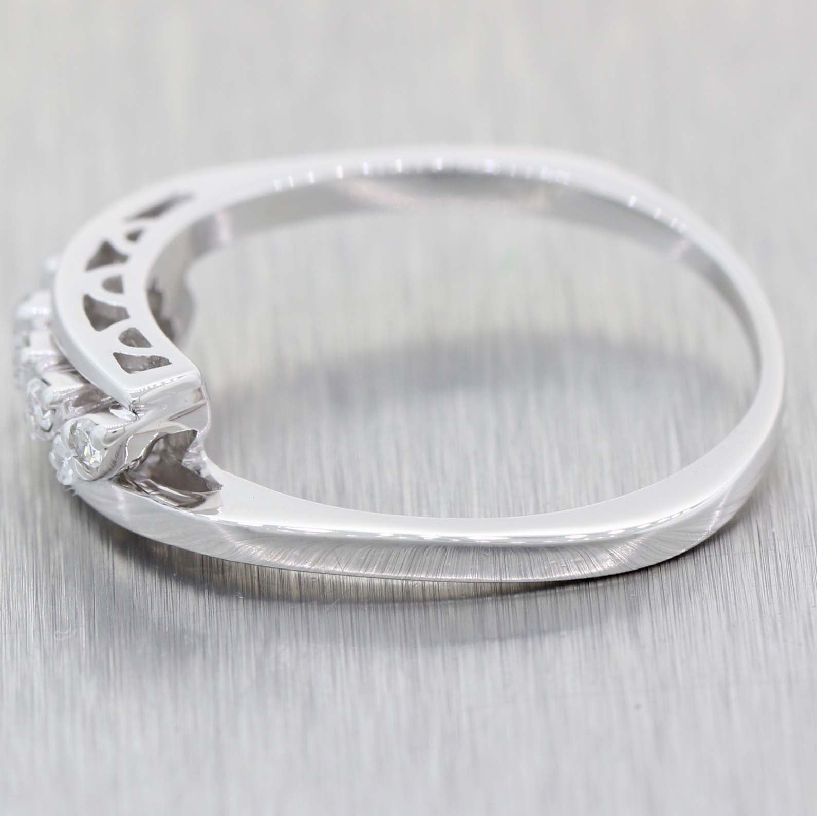 Vintage Estate Solid 14k White Gold .10ctw Diamond 5mm ByPass Band Ring
