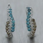 LeVian 14k White Gold Exotic Chocolate & Ice Blue 0.95ctw Diamond Earrings