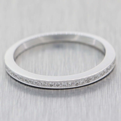 Ladies 14k White Gold .10ctw Round Diamond 2mm Thin Milgrain Band Ring