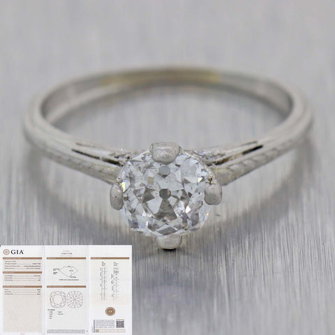 Cushion .92ct G SI2 GIA Platinum Antique ArtDeco 1.07ctw Diamond Engagement Ring