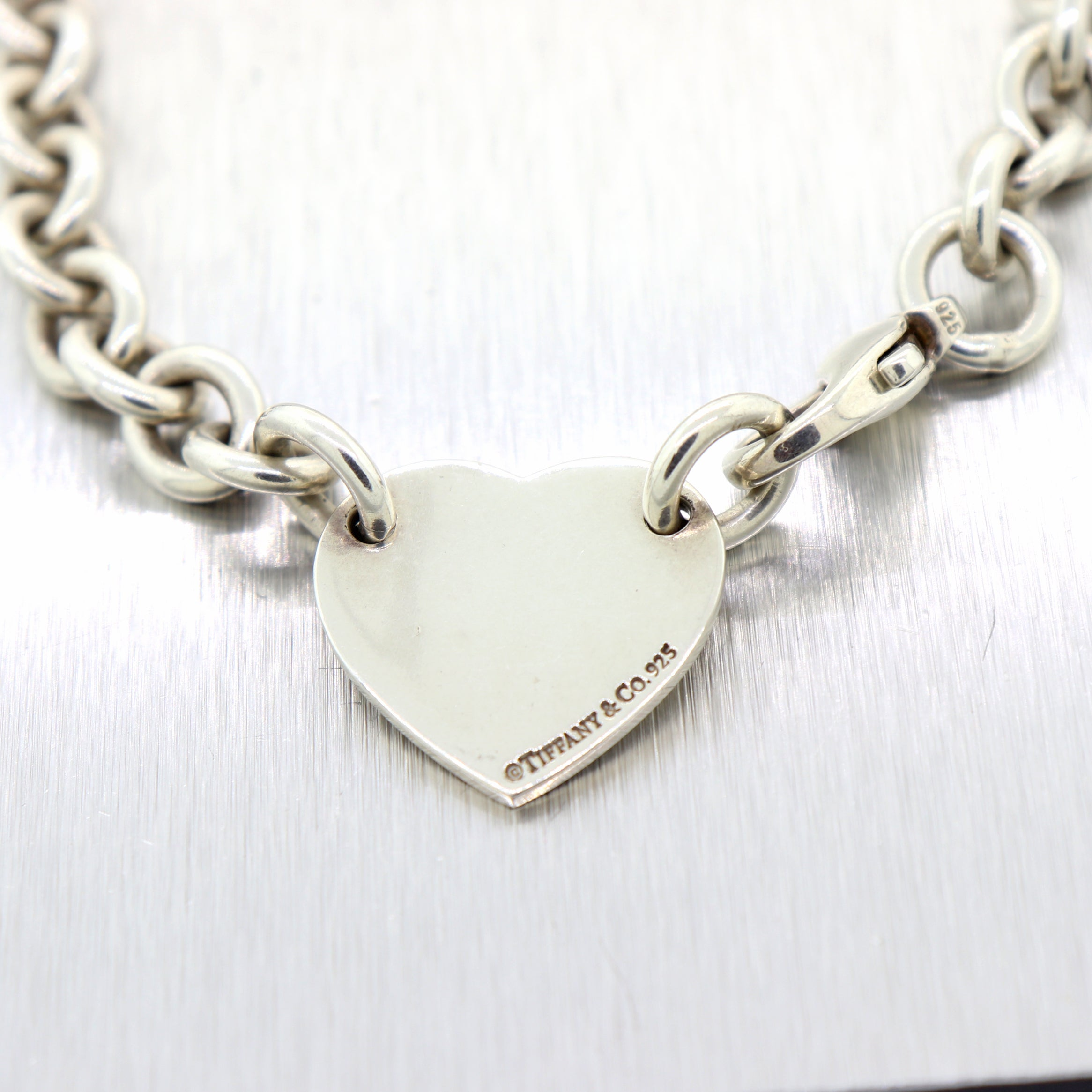 "Tiffany & Co. Sterling Silver Please Return Heart Tag 16"" Necklace"