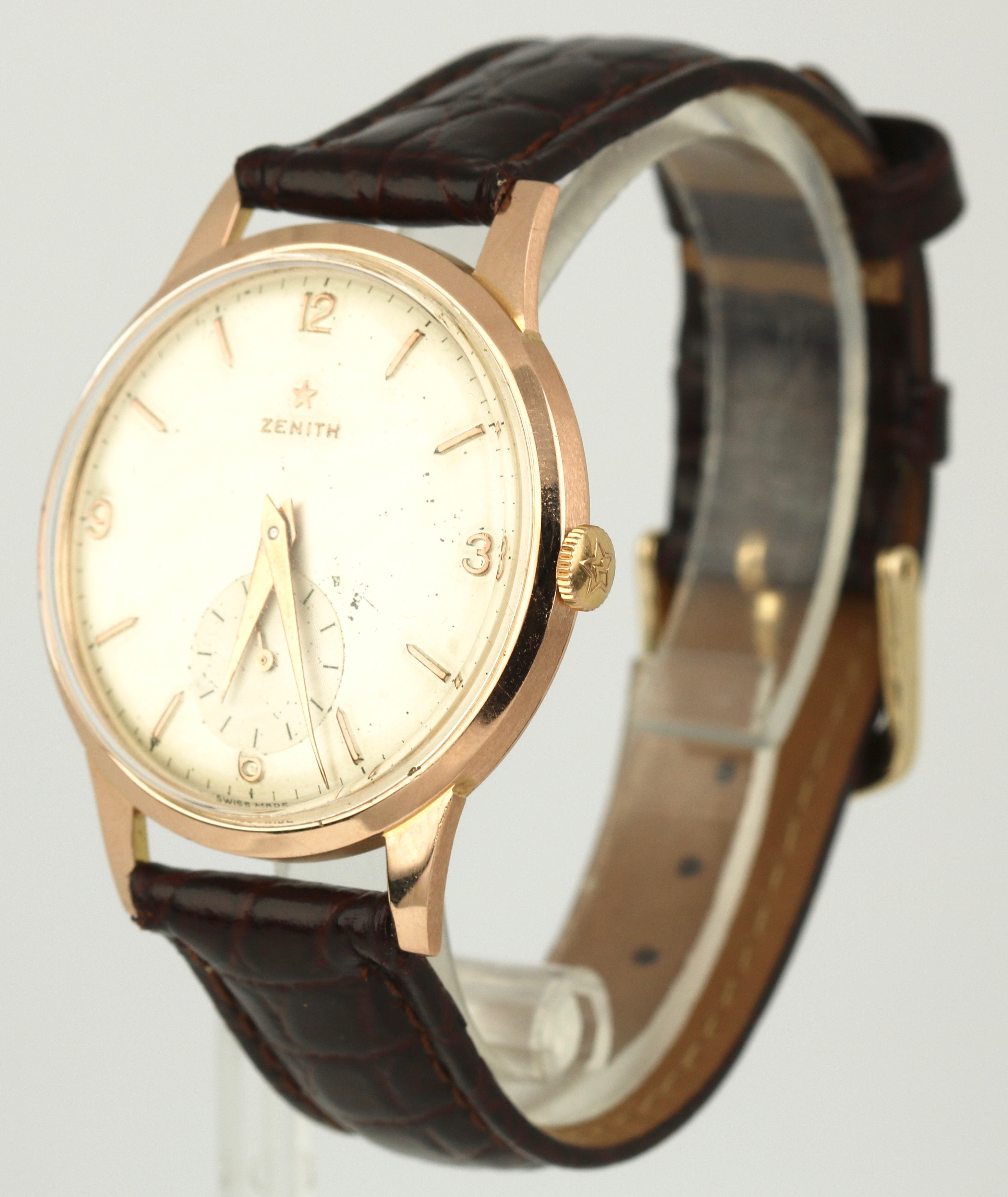 Vintage Zenith 18k Yellow Gold 36mm Manual Wind Silver Arabic Stick Watch