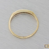 1920s Antique Art Deco 14k 18k Yellow Gold .15ctw Diamond 2mm Wide Band Ring M8